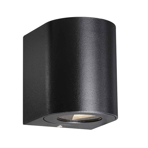 Canto 2 LED IP44 Up/Down Black with Clear Glass Wall Light