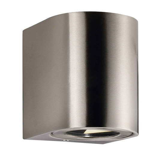 Canto 2 LED IP44 Up/Down Stainless Steel with Clear Glass Wall Light
