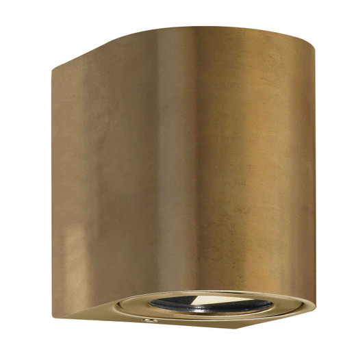 Canto 2 LED IP44 Up/Down Brass with Clear Glass Wall Light