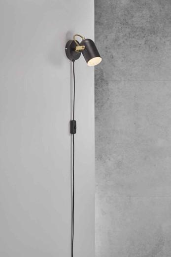 Lotus Black/Brass Adjustable Wall Light