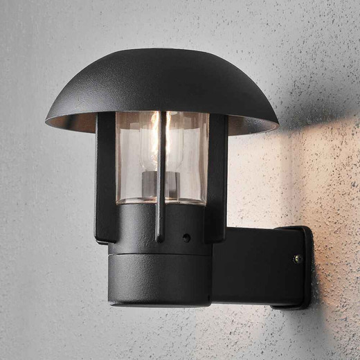 Heimdal Black with Clear Glass Outdoor IP44 Wall Light