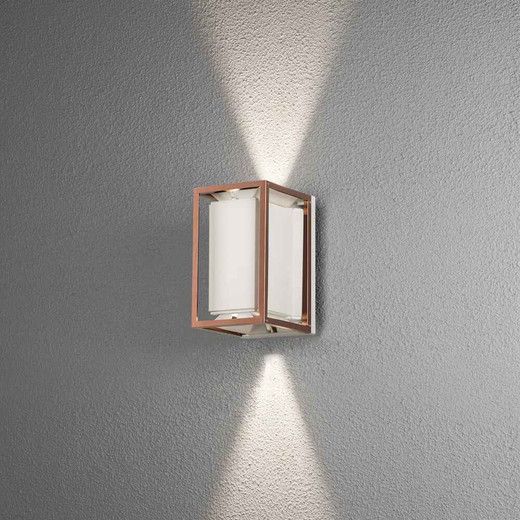 Vale Copper with White Insert Adjustable LED Outdoor IP44 Wall Light