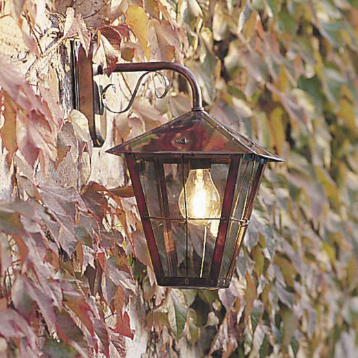 Fenix Down Copper with Clear Glass Outdoor IP23 Wall Light