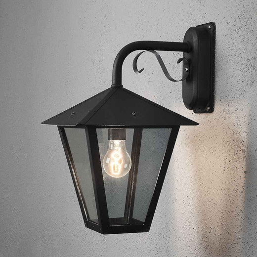 Benu Down Black with Clear Glass Outdoor IP23 Wall Lamp