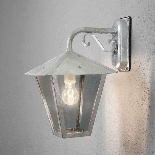 Benu Down Galvanized with Clear Glass Outdoor IP23 Wall Light