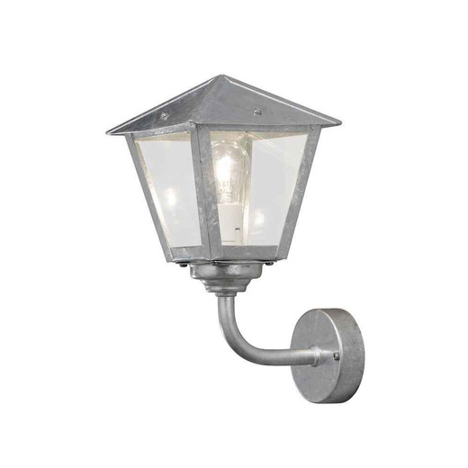 Benu up Galvanized Clear Glass Wall Lamp