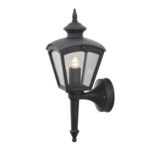 Cassiopeia Matt Black with Clear Glass Outdoor IP23 Wall Light
