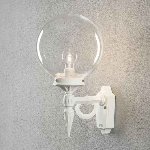 Orion White with Clear Glass Dome Outdoor IP23 Wall Light