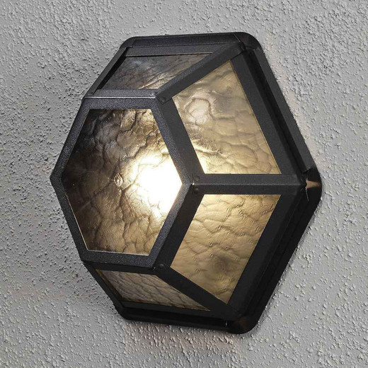 Castor Black Aluminium + Amber Frosted Glass Wall Lamp