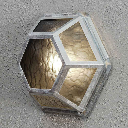 Castor Galvanized Steel + Amber Frosted Glass Wall Lamp