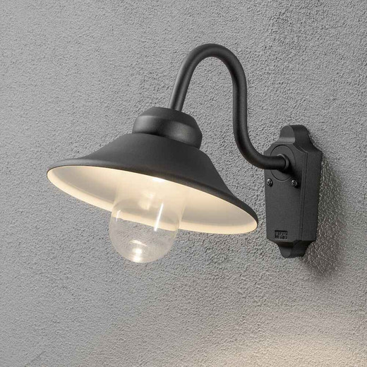 Vega Black Aluminium with Clear Glass LED Wall Light