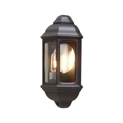 Cagliari Matt Black Aluminium Flush Half Lantern Wall Light