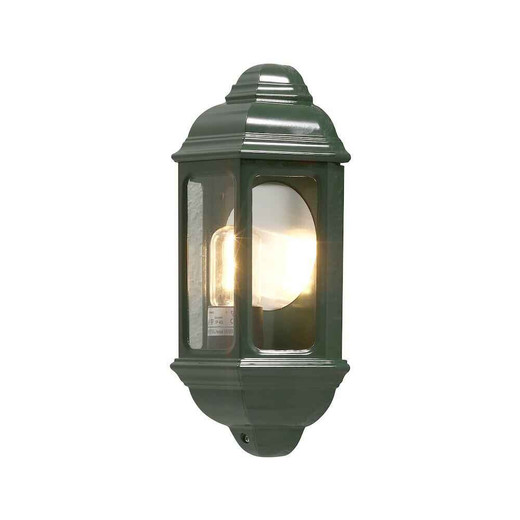 Cagliari green Aluminium Flush Half Lantern Wall Light