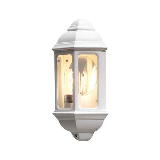 Cagliari White Aluminium Flush Half Lantern Wall Light