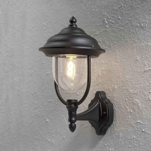 Parma Up Matt Aluminium with Clear Glass Black Wall Light