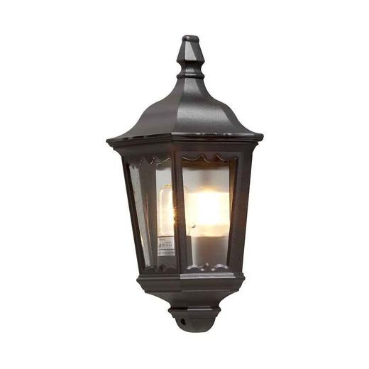 Firenze Black Aluminium Flush Half Lantern Wall Light