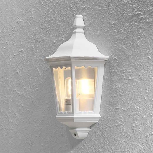 Firenze Matt White Aluminium Flush Half Lantern Wall Light