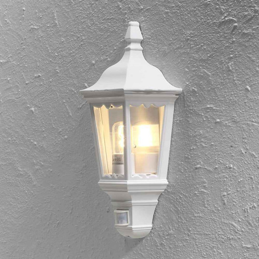 Firenze White Sensor Aluminium Flush Half Lantern Wall light