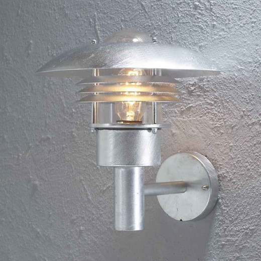Modena Galvanized Steel with Clear Glass Wall Light