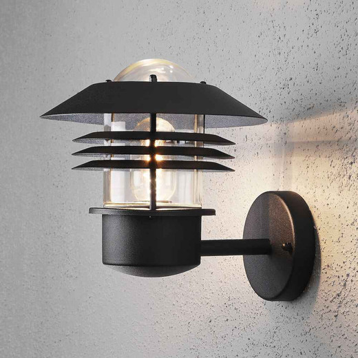 Modena Up Black Aluminium with Clear Glass Wall Light