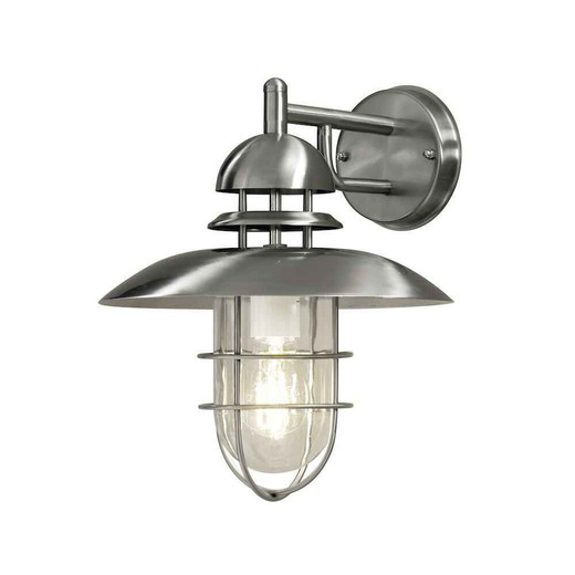 Sorrento Down Stainless Steel with Clear Glass IP44 Wall Light