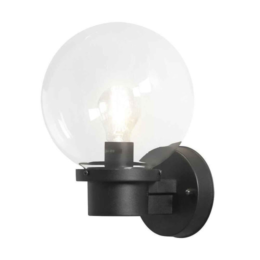 Nemi Up Sensor Matt Black Plastic with Clear Glass Wall Light