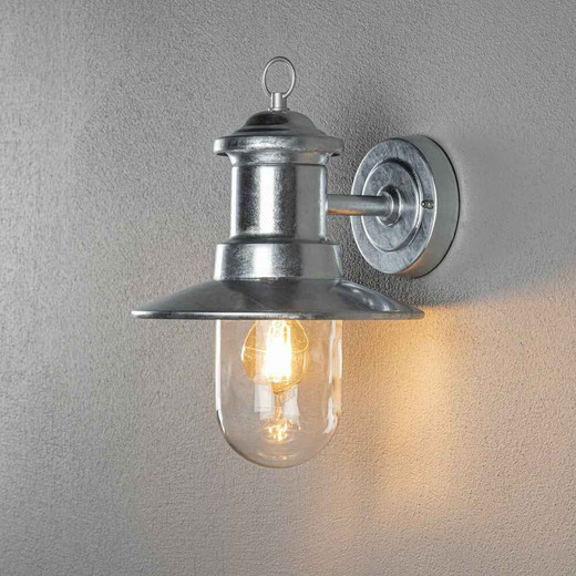 Napoli Galvanised Stell with Clear Glass Wall Light