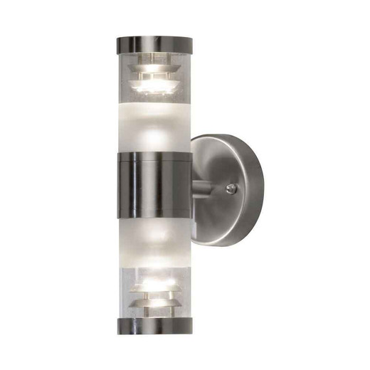 Bolzano Up/Down Stainless Steel with Clear Glass Wall Light