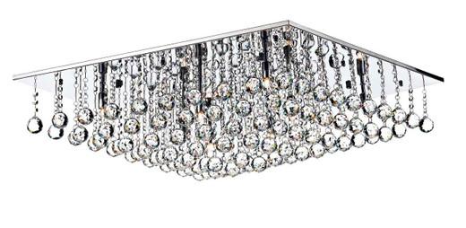 Abacus 8 Light 80cm Square Crystal and Chrome Flush Ceiling Light