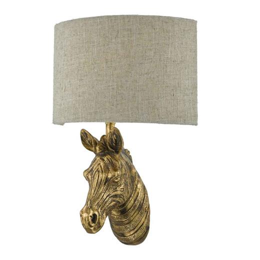 Abby Gold Zebra with Natural Linen Shade Wall Light