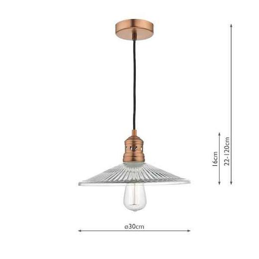 Adeline 1 Light Brushed Copper and Pressed Glass Pendant Light