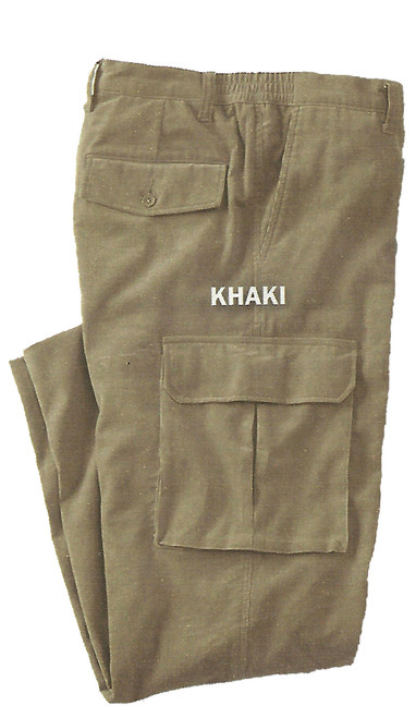 Khaki Corduroy with Cargo Pockets