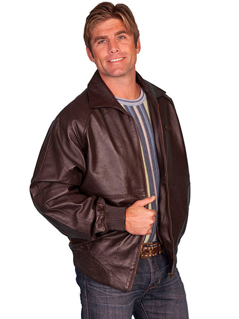 Scully Zip Front Lamb Leather Jacket, Brown 5X