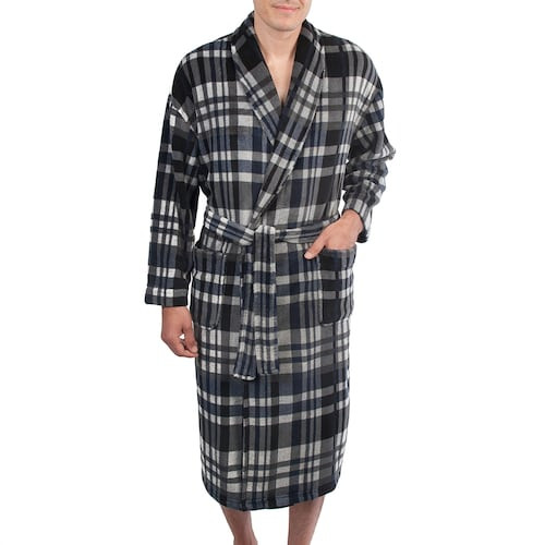 Residence Plush Charcoal Plaid Robe 1X/2X, 3X/4X