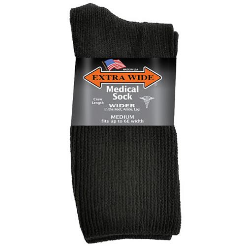 Extra Wide Medical Crew Sock Black