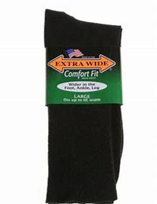 Extra Wide Comfort Fit Athletic Crew Socks Black