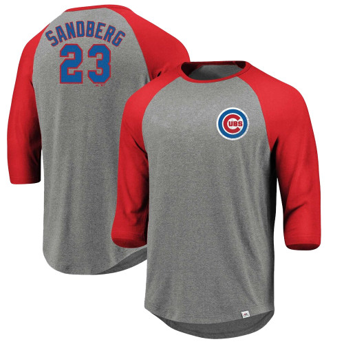 Majestic Ryne Sandberg Chicago Cubs Cooperstown Collection  Raglan Tee XLT, 2X, 3X, 4X