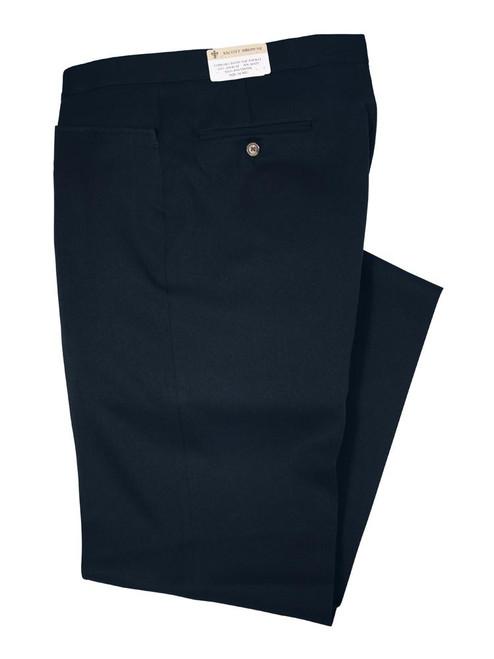 Black Gabardine Twill Beltless Pants