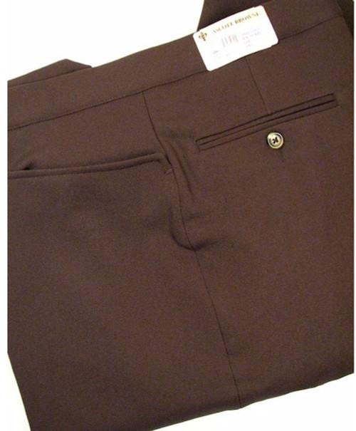 Beltless Gabardine Twill Pants, Brown