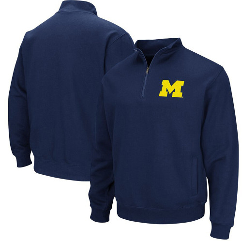 U of M Wolverines 1/4 Zip, Back(left), Front (right)