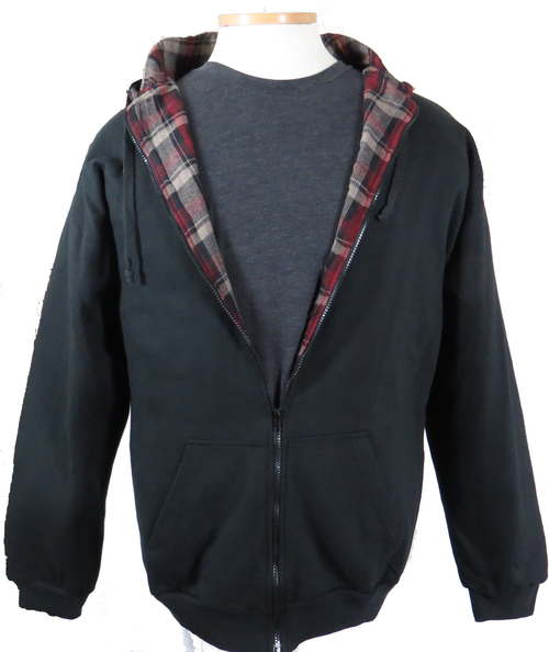 Falcon Bay Black  Flannel Lined Hoodie LT, 3X, 4X