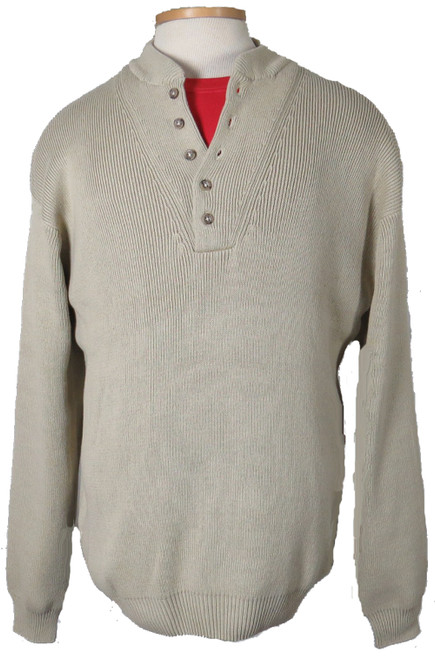 Basic Options 5 Button Pullover Camel Sweater XLT