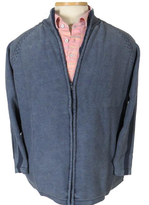 LaVane Full Zip Mock Neck Sweater Faded Blue 4X