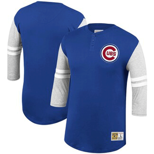 Mitchell & Ness Chicago Cubs 3/4 Sleeve Henley 3XT, 4X