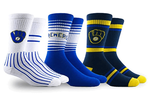 Milwaukee Brewers 3 Pack Crew Socks by PKWY Size 13-16