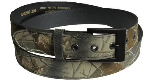Cotton Twill Camo Bonded Lined Belt with Grommets, Waist Size 50-54