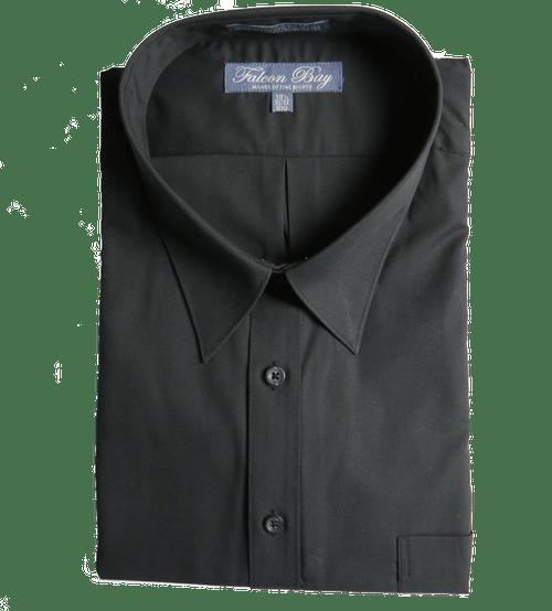 Falcon Bay Comfort Collar Long Sleeve Black Dress Shirt, Neck Sizes 18, 18.5, 20, 24