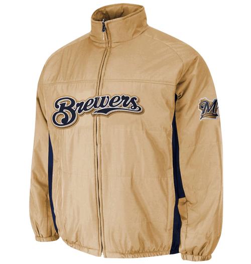 Majestic Milwaukee Brewers Double On-Field Jacket 3X, 4X, 5X, 6X