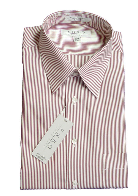 Enro Long Sleeve Dress Shirt Chipotle Stripe 17, 18