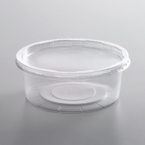 8 oz. Natural Plastic Container with Lid